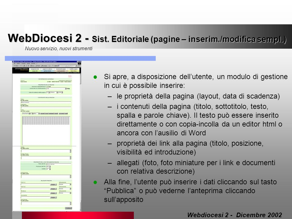 WebDiocesi 2 - Sist. Editoriale (pagine – inserim./modifica sempl.)