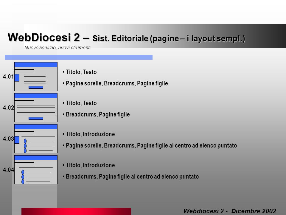 WebDiocesi 2 – Sist. Editoriale (pagine – i layout sempl.)