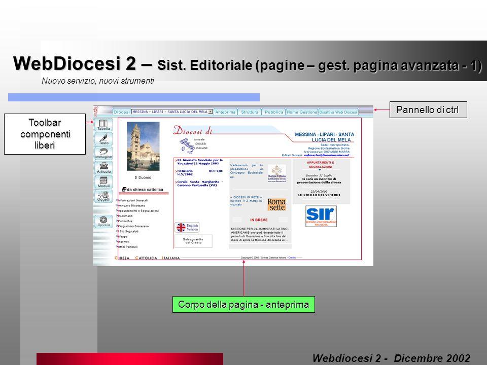 WebDiocesi 2 – Sist. Editoriale (pagine – gest. pagina avanzata - 1)