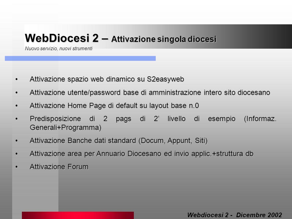 WebDiocesi 2 – Attivazione singola diocesi