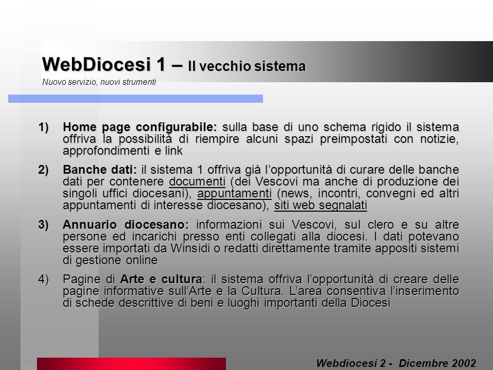 WebDiocesi 1 – Il vecchio sistema