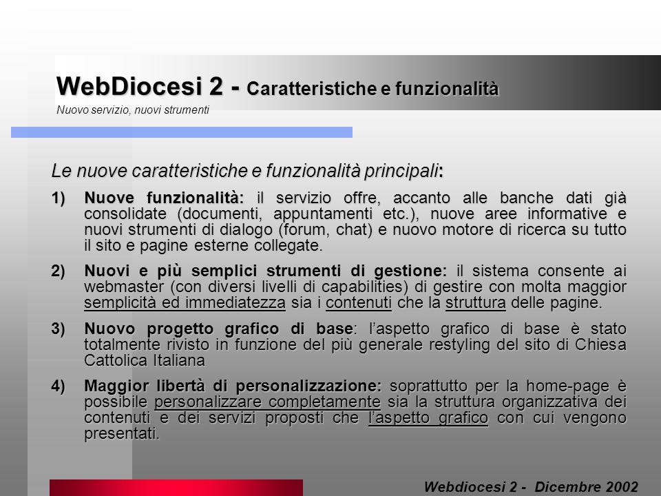 WebDiocesi 2 - Caratteristiche e funzionalità