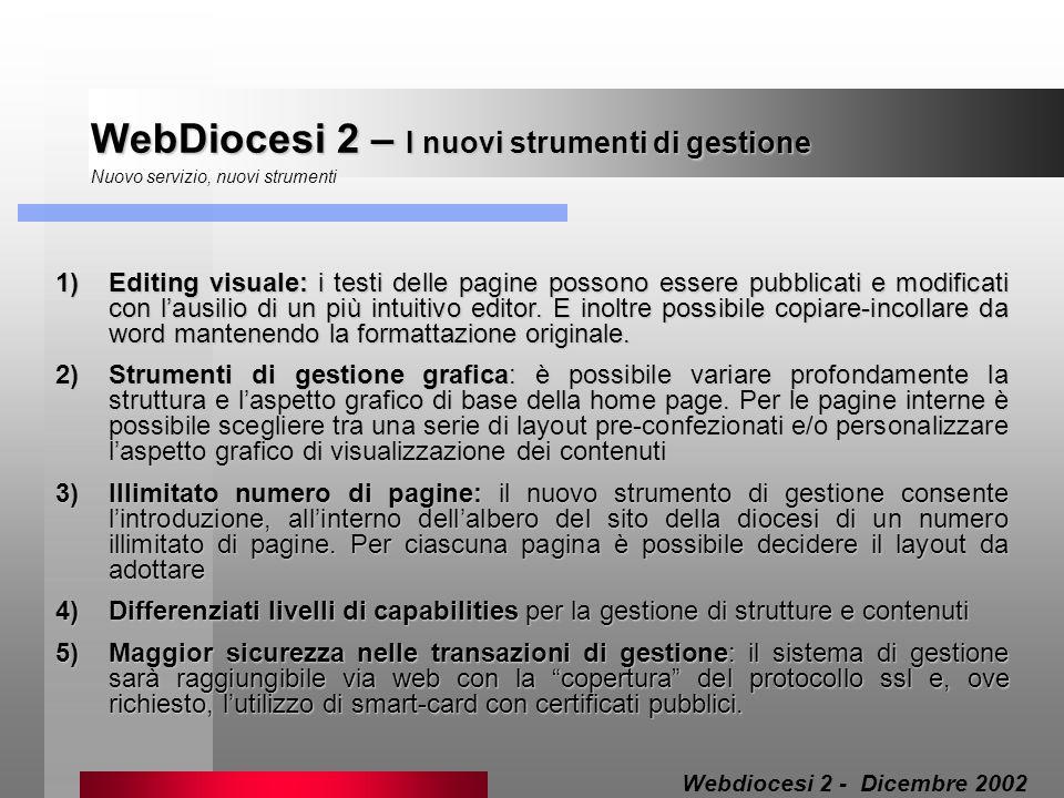 WebDiocesi 2 – I nuovi strumenti di gestione