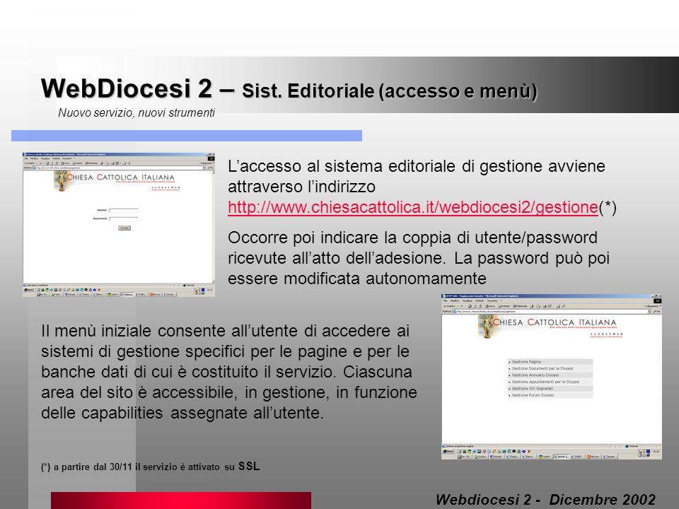 WebDiocesi 2 – Sist. Editoriale (accesso e menù)