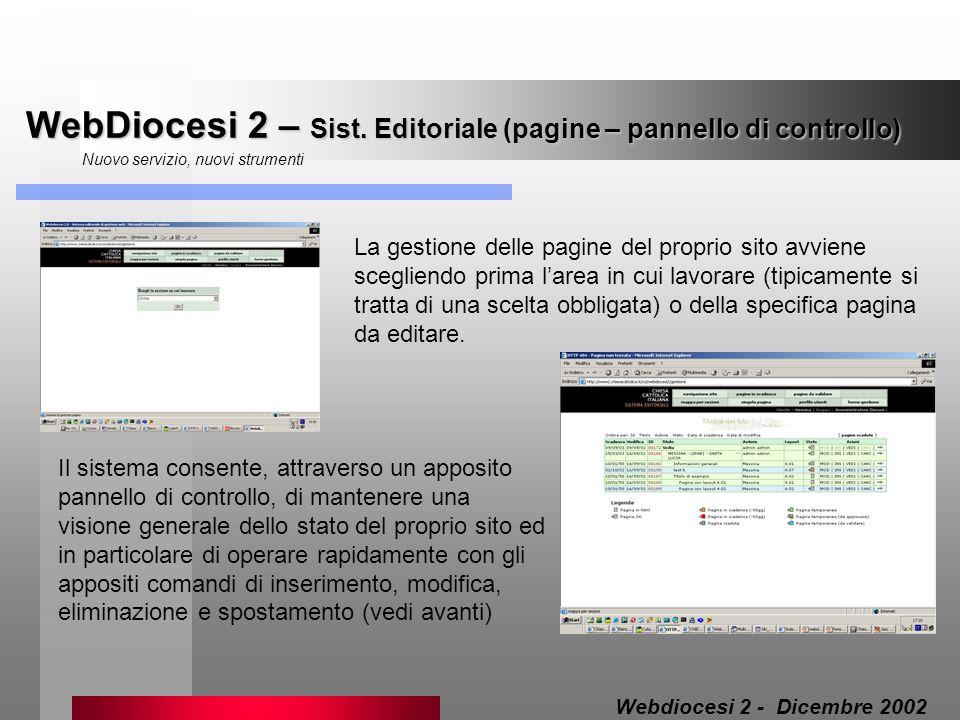 WebDiocesi 2 – Sist. Editoriale (pagine – pannello di controllo)