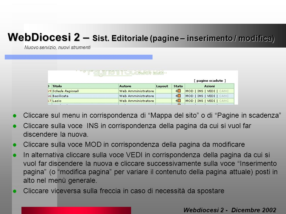 WebDiocesi 2 – Sist. Editoriale (pagine – inserimento / modifica)