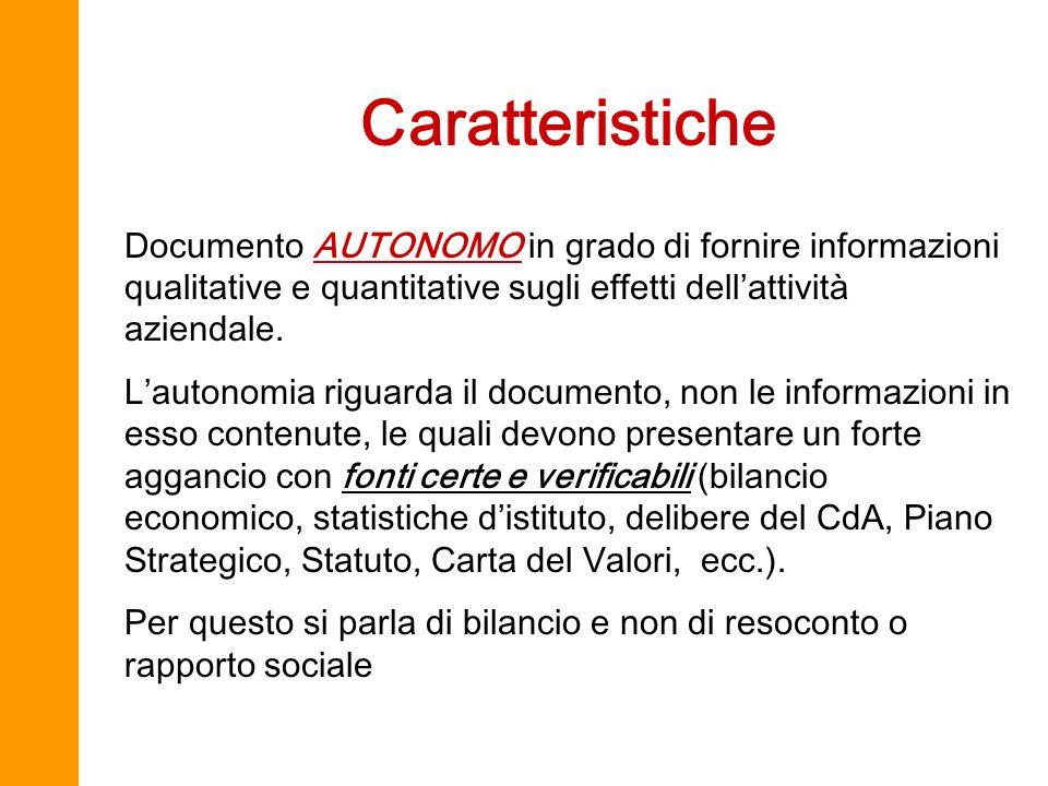 Caratteristiche Documento AUTONOMO in grado di fornire informazioni qualitative e quantitative sugli effetti dell'attività aziendale.