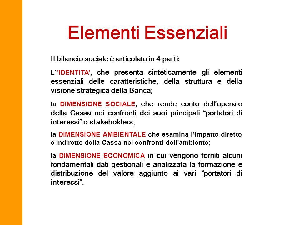 Elementi Essenziali Il bilancio sociale è articolato in 4 parti: