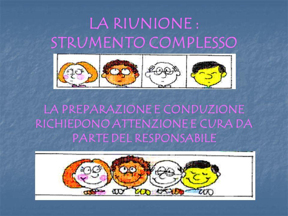 LA RIUNIONE : STRUMENTO COMPLESSO