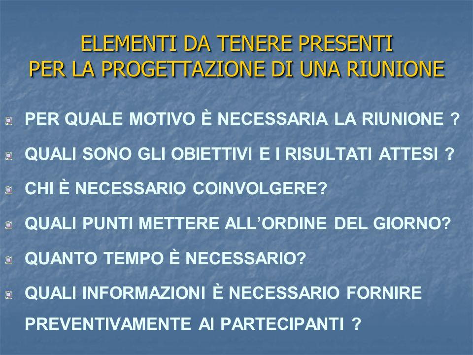 ELEMENTI DA TENERE PRESENTI PER LA PROGETTAZIONE DI UNA RIUNIONE
