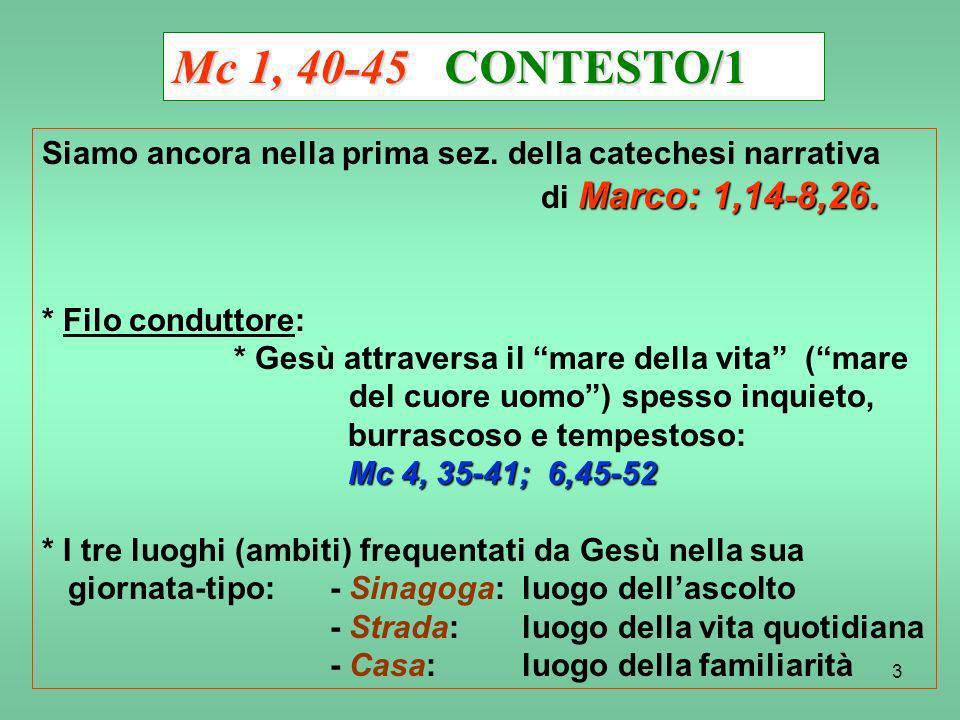 Mc 1, 40-45 CONTESTO/1 Siamo ancora nella prima sez. della catechesi narrativa. di Marco: 1,14-8,26.