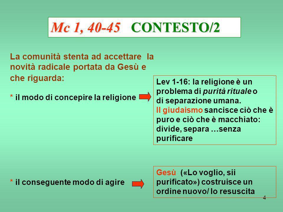 Mc 1, 40-45 CONTESTO/2 La comunità stenta ad accettare la novità radicale portata da Gesù e che riguarda: