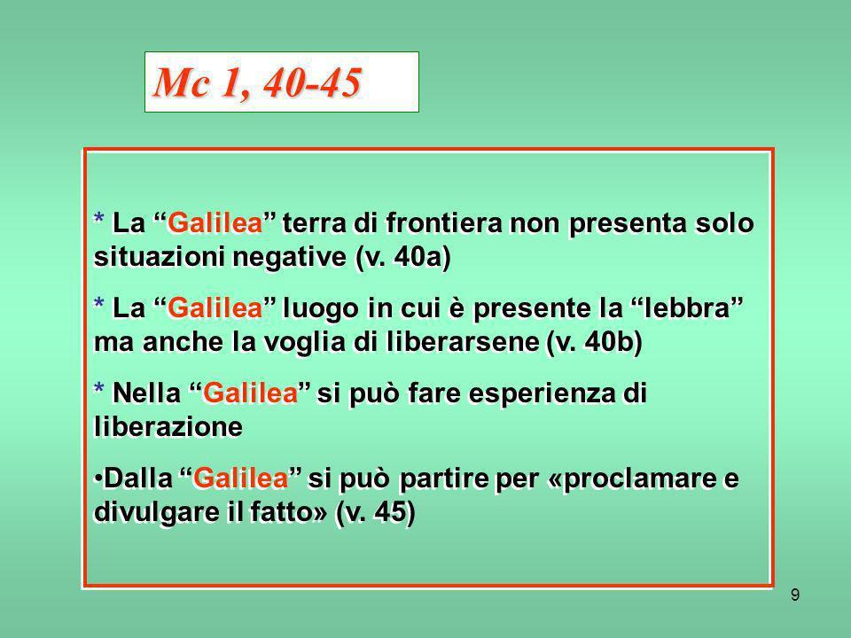 Mc 1, 40-45* La Galilea terra di frontiera non presenta solo situazioni negative (v. 40a)