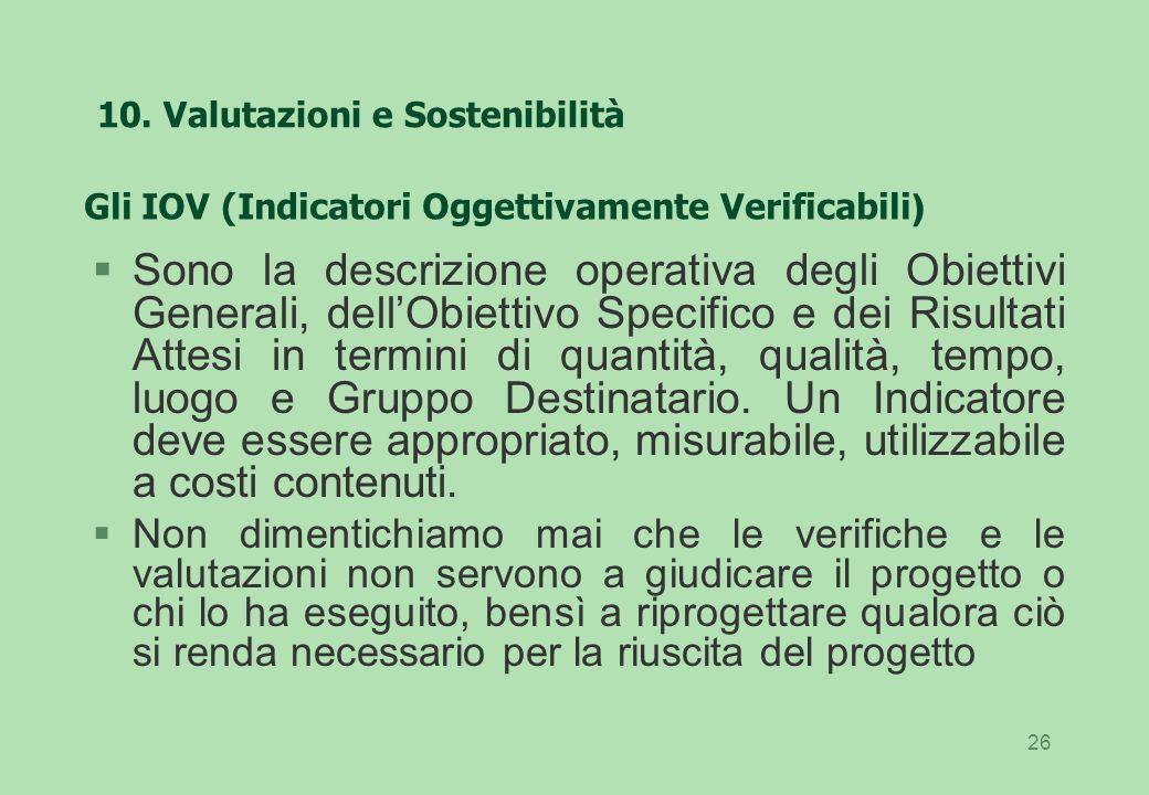 10. Valutazioni e Sostenibilità