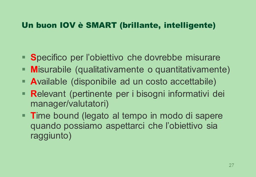 Un buon IOV è SMART (brillante, intelligente)