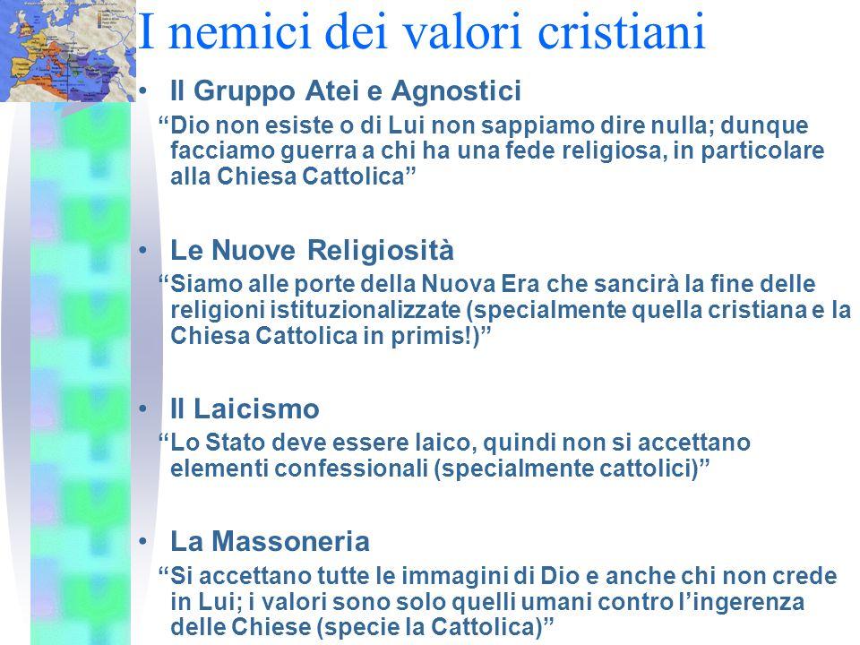 I nemici dei valori cristiani
