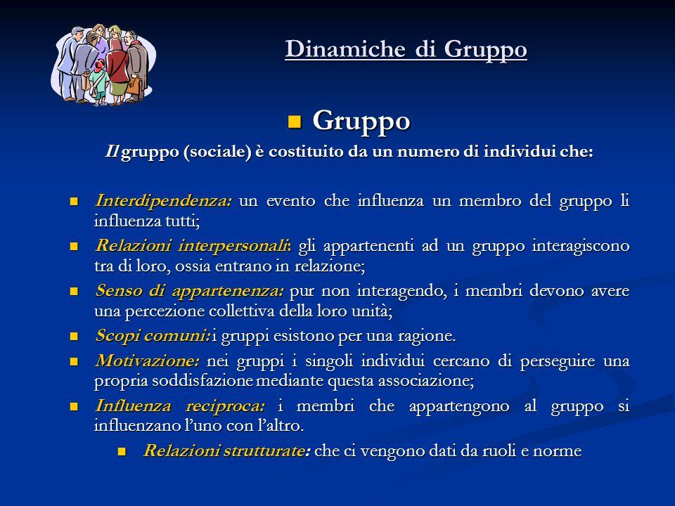 Il gruppo (sociale) è costituito da un numero di individui che: