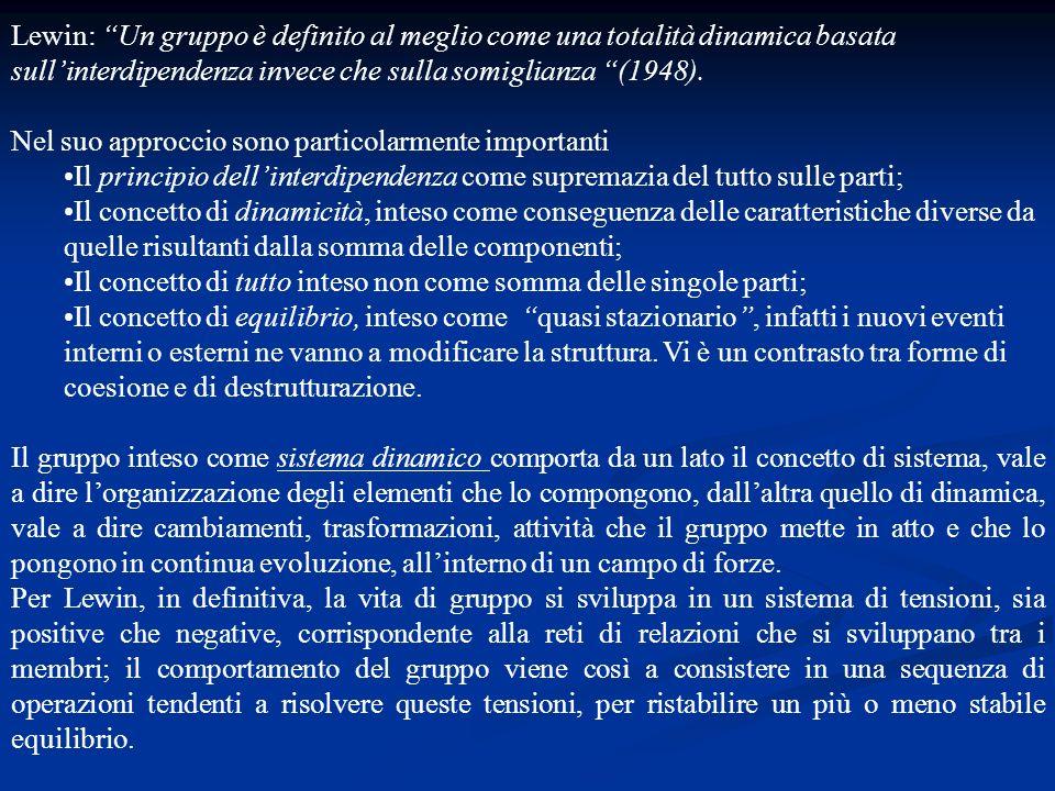 Lewin: Un gruppo è definito al meglio come una totalità dinamica basata sull'interdipendenza invece che sulla somiglianza (1948).
