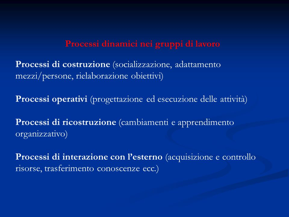 Processi dinamici nei gruppi di lavoro