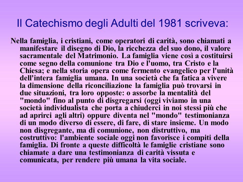 Il Catechismo degli Adulti del 1981 scriveva: