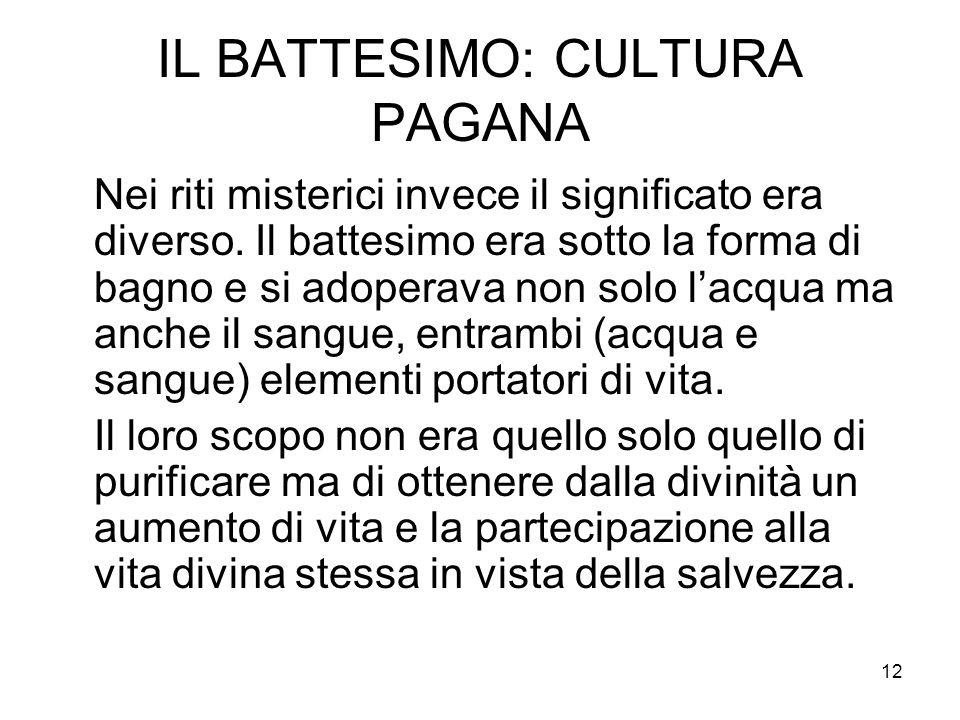 IL BATTESIMO: CULTURA PAGANA