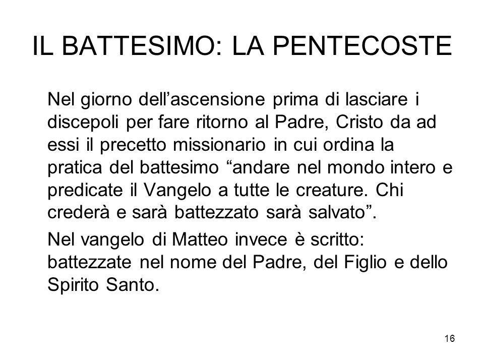 IL BATTESIMO: LA PENTECOSTE