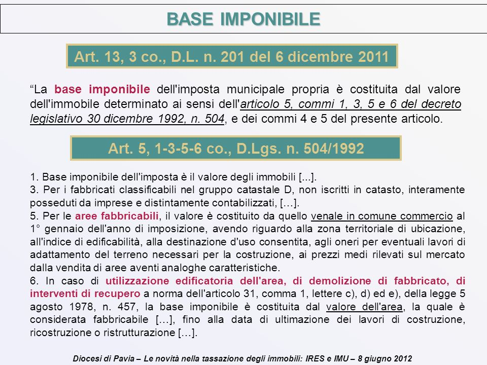 BASE IMPONIBILE Art. 13, 3 co., D.L. n. 201 del 6 dicembre 2011