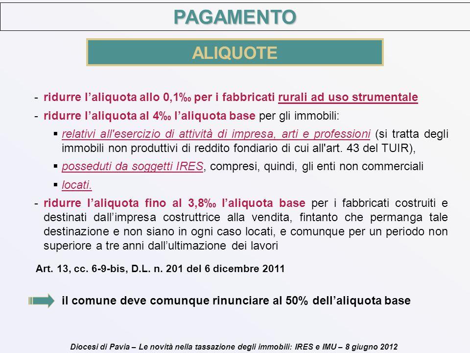 PAGAMENTO ALIQUOTE. ridurre l'aliquota allo 0,1‰ per i fabbricati rurali ad uso strumentale.