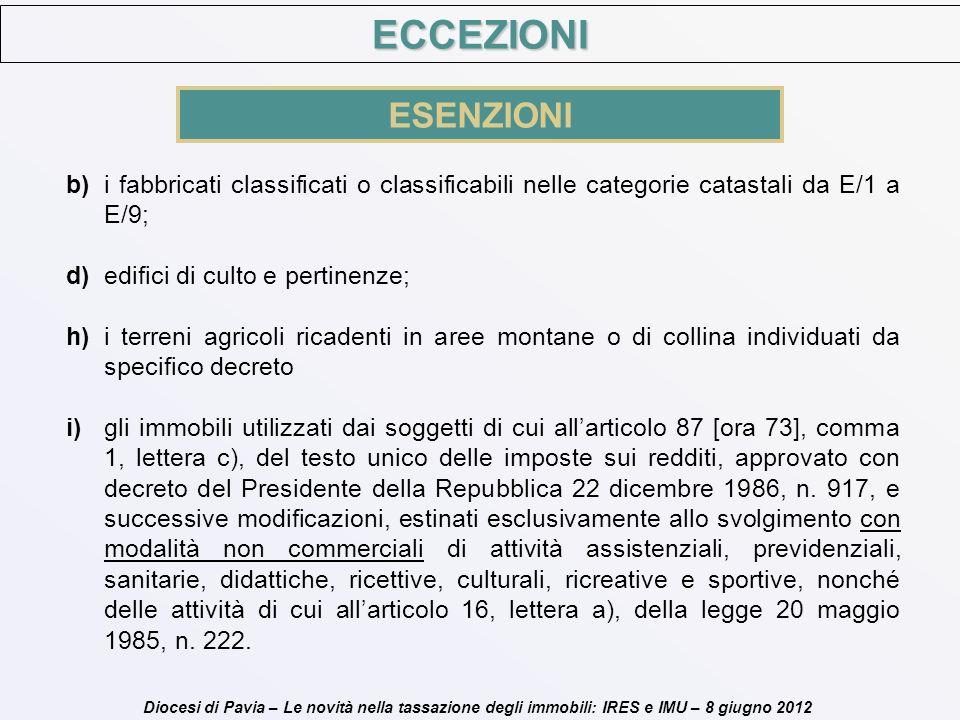 ECCEZIONI ESENZIONI. b) i fabbricati classificati o classificabili nelle categorie catastali da E/1 a E/9;