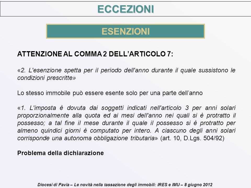 ECCEZIONI ESENZIONI ATTENZIONE AL COMMA 2 DELL'ARTICOLO 7: