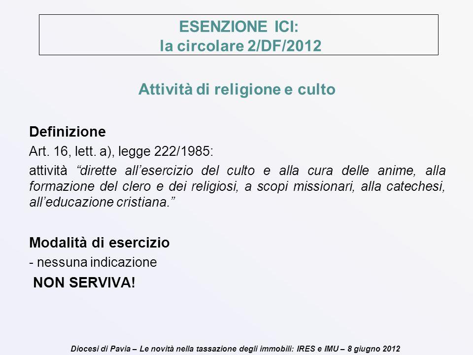ESENZIONE ICI: la circolare 2/DF/2012