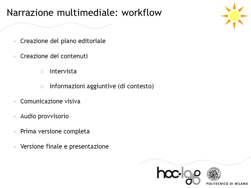 Narrazione multimediale: workflow