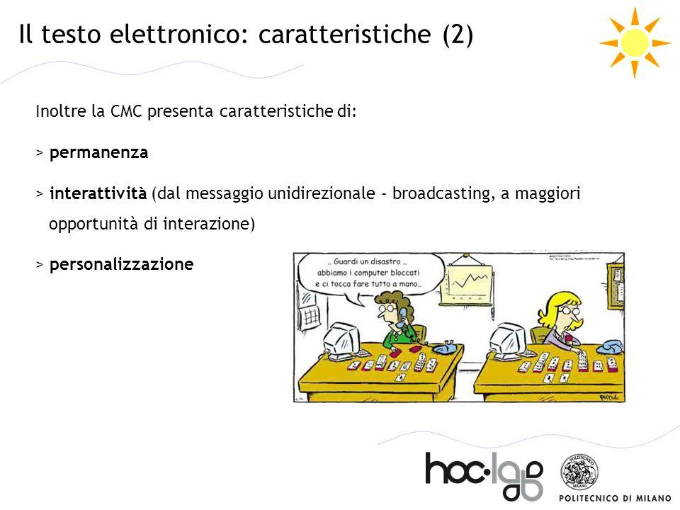 Il testo elettronico: caratteristiche (2)