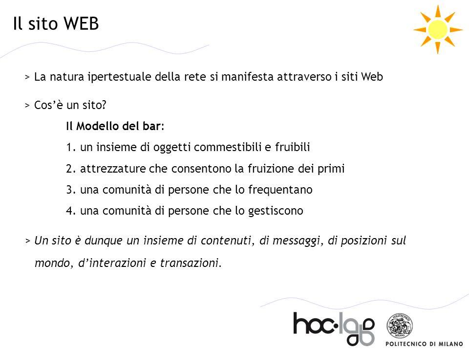 Il sito WEB > La natura ipertestuale della rete si manifesta attraverso i siti Web.