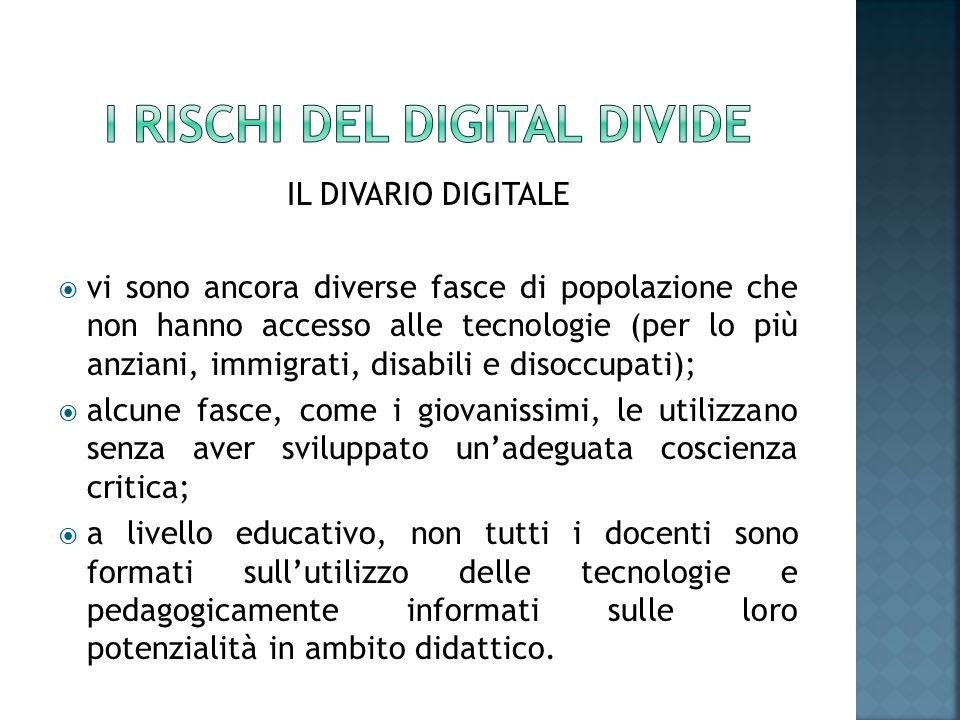 I RISCHI DEL DIGITAL DIVIDE