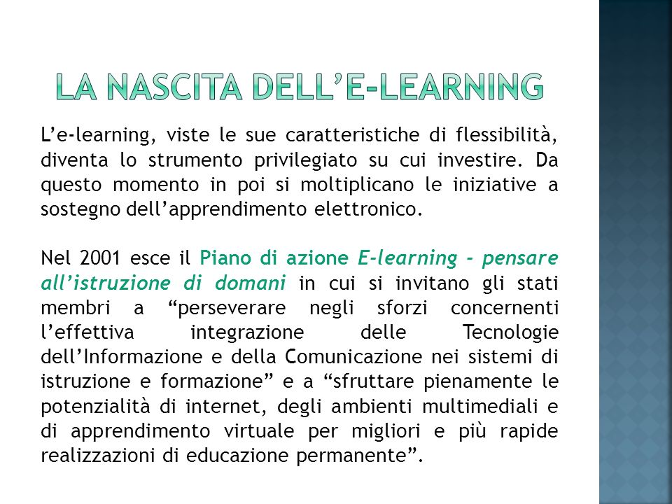 lA NASCITA DELL'e-learning