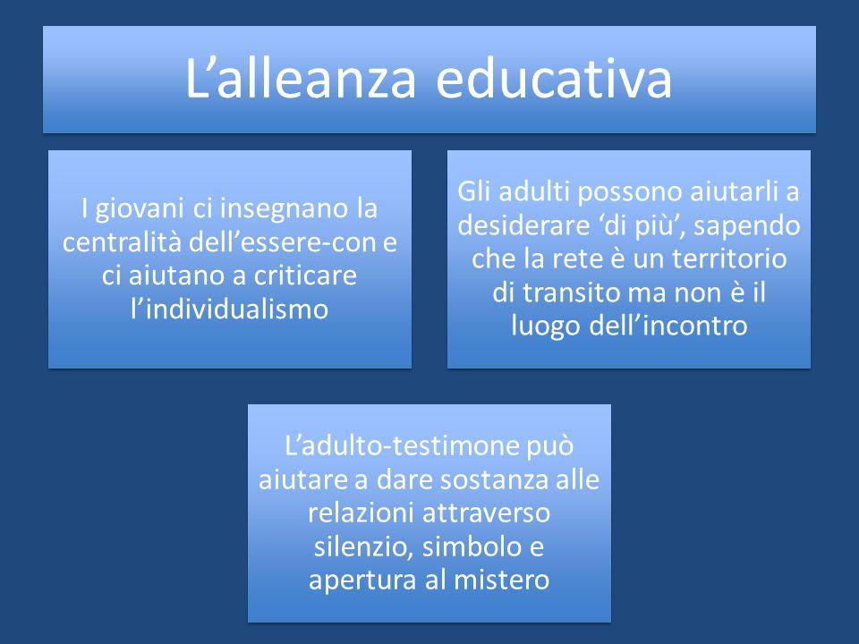 L'alleanza educativa I giovani ci insegnano la centralità dell'essere-con e ci aiutano a criticare l'individualismo.