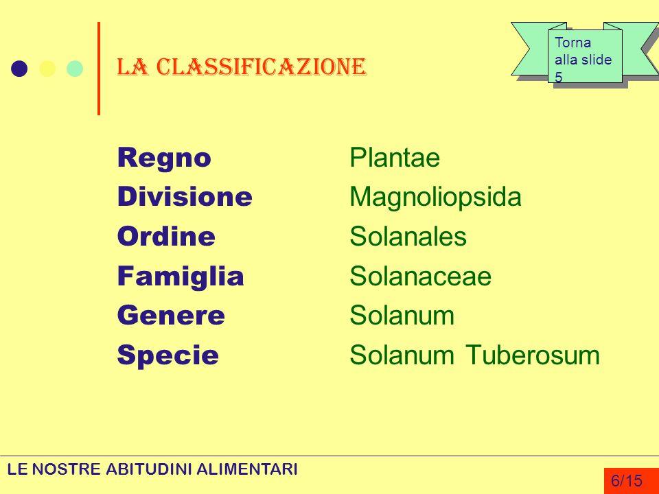 Divisione Magnoliopsida Ordine Solanales Famiglia Solanaceae