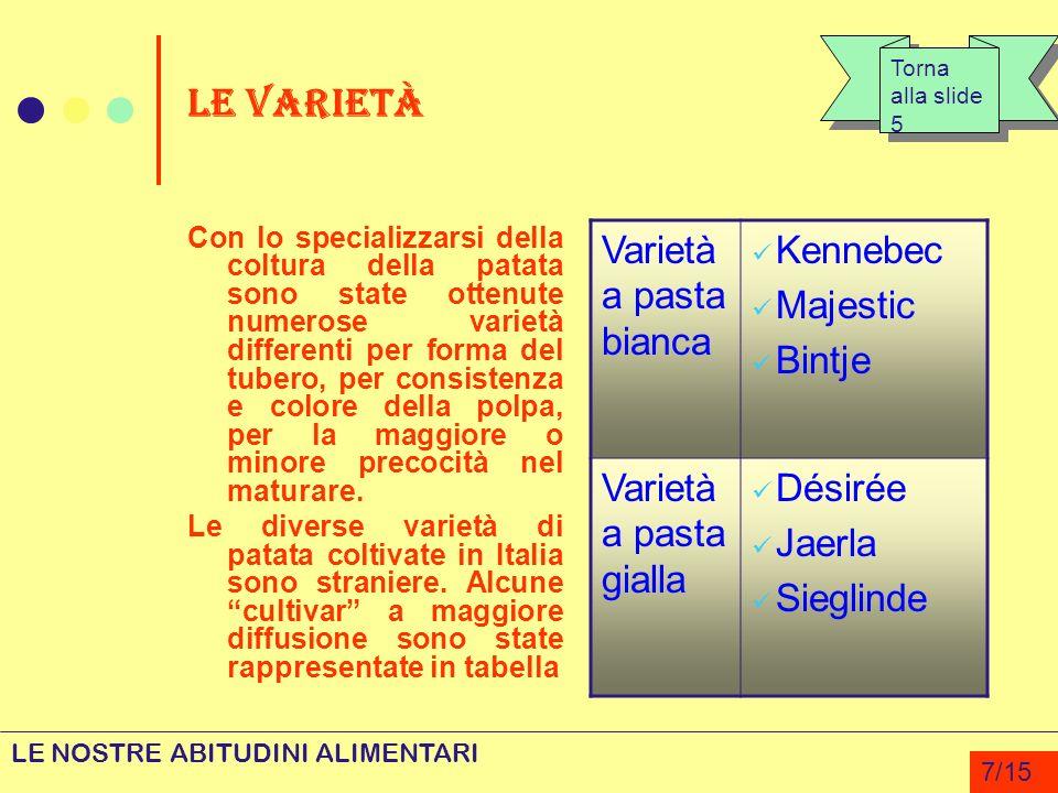 LE VARIETÀ Varietà a pasta bianca Kennebec Majestic Bintje