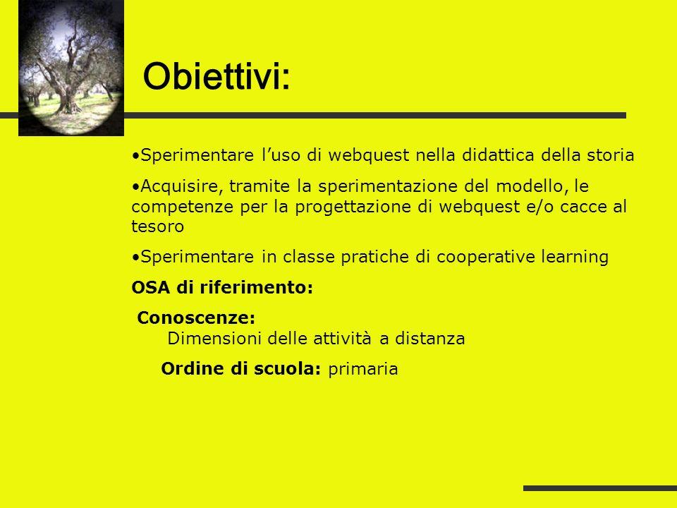 Obiettivi: Sperimentare l'uso di webquest nella didattica della storia