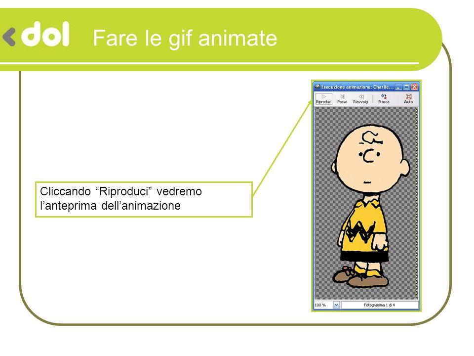 Fare le gif animate Cliccando Riproduci vedremo l'anteprima dell'animazione