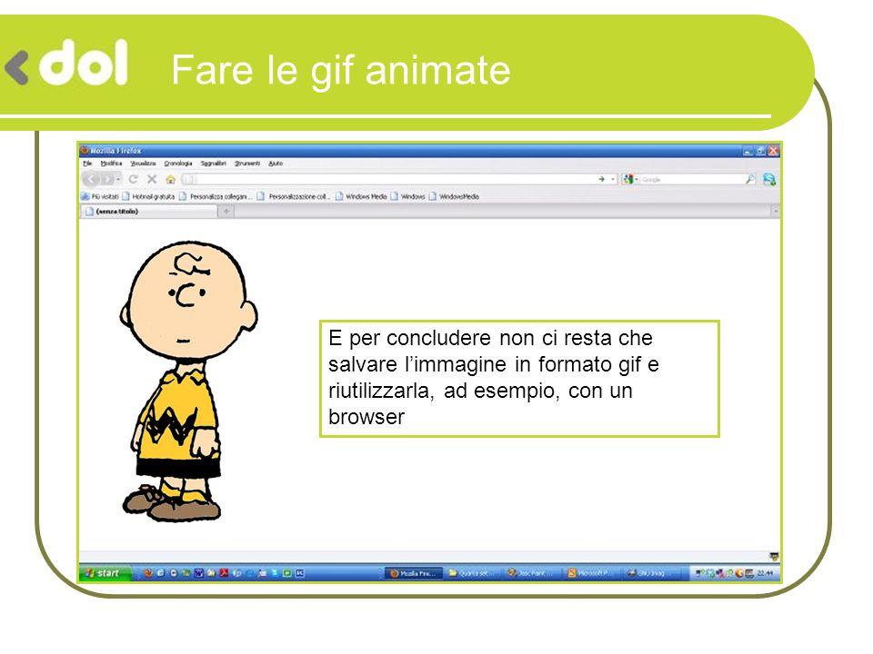 Fare le gif animate E per concludere non ci resta che salvare l'immagine in formato gif e riutilizzarla, ad esempio, con un browser.