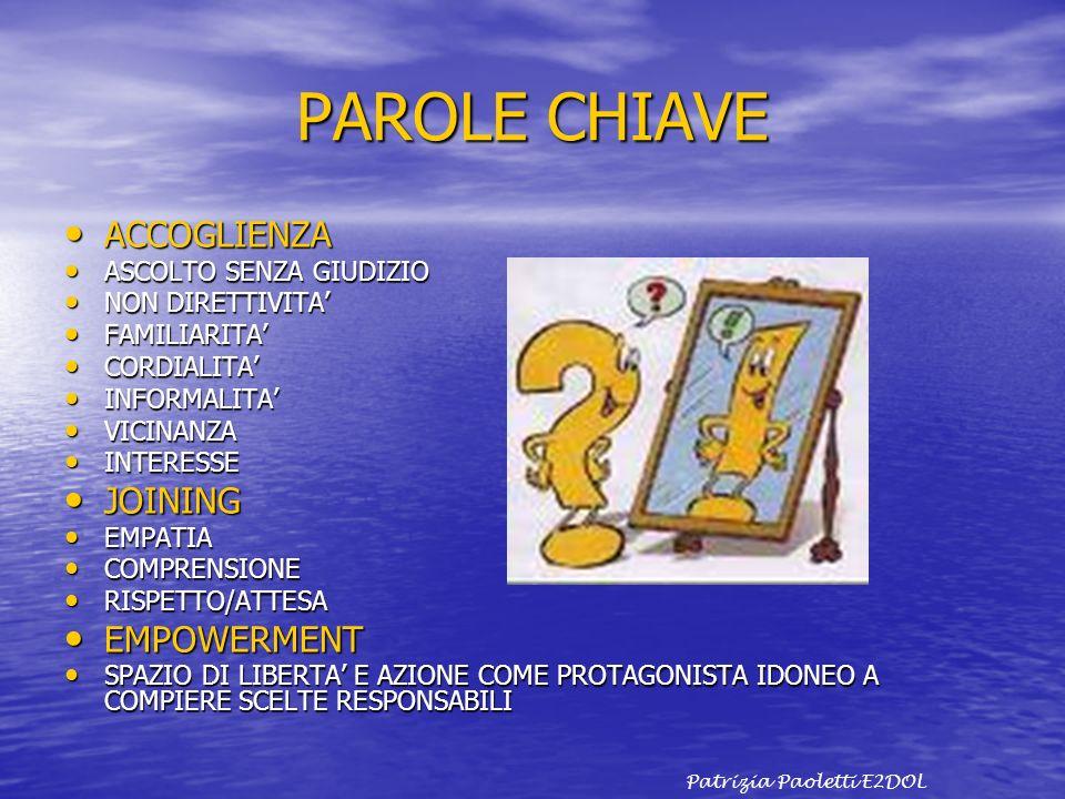 PAROLE CHIAVE ACCOGLIENZA JOINING EMPOWERMENT ASCOLTO SENZA GIUDIZIO