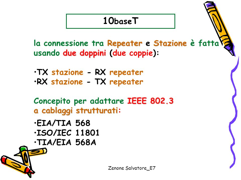 10baseT la connessione tra Repeater e Stazione è fatta