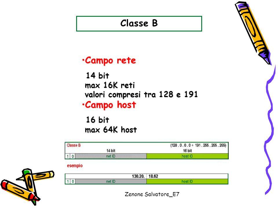 Classe B Campo rete 14 bit Campo host 16 bit max 16K reti