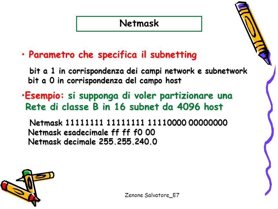 Parametro che specifica il subnetting