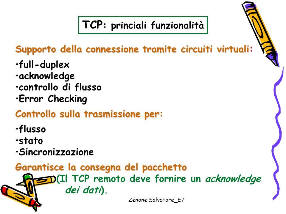 TCP: princiali funzionalità