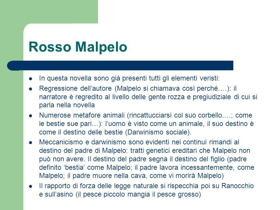 Rosso Malpelo In questa novella sono già presenti tutti gli elementi veristi: