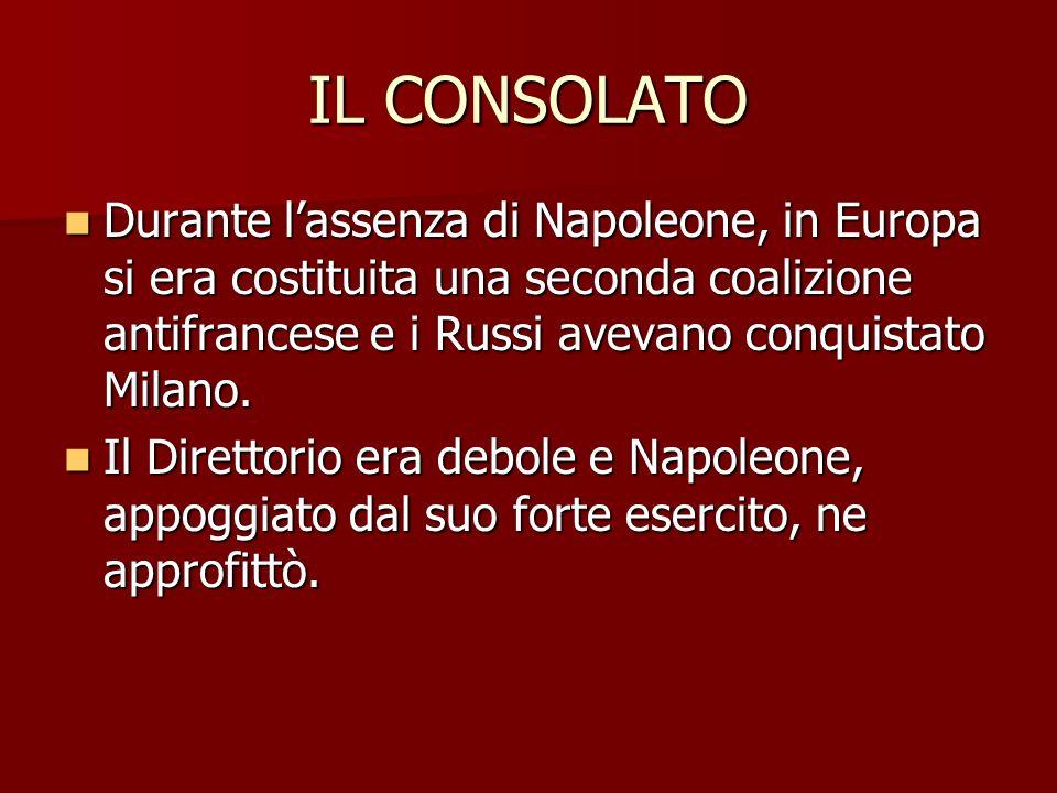 IL CONSOLATO Durante l'assenza di Napoleone, in Europa si era costituita una seconda coalizione antifrancese e i Russi avevano conquistato Milano.