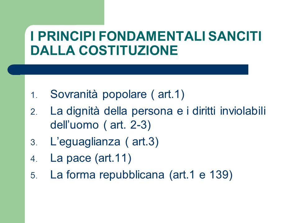 I PRINCIPI FONDAMENTALI SANCITI DALLA COSTITUZIONE